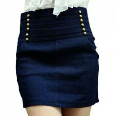 $8.47 Ladylike Sweet Style Double-Breasted Embellished High-Waisted Denim Skirt For Women