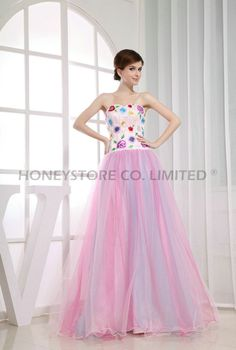 Aliexpress.com : Buy Sweet A line Sweetheart Floor Length Satin and Tulle with Appliques Prom Dresses from Reliable prom satin dress suppliers on HONEYSTORE CO., LIMITED $378.38
