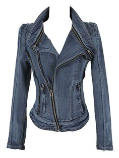 Love the Zippers! Sexy Slim Blue Denim Jacket With Off-center Zipper #Sexy #Denim #Jacket #Fall #Fashion
