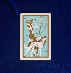 Elegant 1930s Borzoi dog art deco playing/trading card. Beautiful teal and gold colors. Lovely art deco design on the back, too! In excellent
