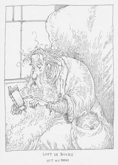 Chris Riddell: Lost in Books Ink Illustrations, Children's Book Illustration, Reading Themes, World Of Books, Beautiful Drawings, Book Making, Colouring Pages, Book Design, Book Worms