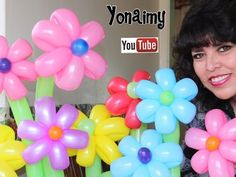 Twisted daisy of ten petals - balloon tutorial (Subtitels) How To Make Balloon, One Balloon, Balloon Flowers, Balloon Columns, Balloon Bouquet, Balloon Arch, Balloon Hat, Balloon Centerpieces, Baby Shower Decorations For Boys