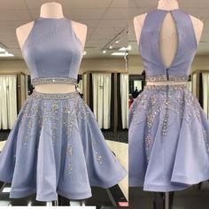Shinning Two Piece Blue High Neck Homecoming Dresses With Beading,Short Prom Dre. - Shinning Two Piece Blue High Neck Homecoming Dresses With Beading,Short Prom Source by - Backless Homecoming Dresses, Cute Prom Dresses, Dresses For Teens, Dance Dresses, Pretty Dresses, Beautiful Dresses, Formal Dresses, Two Piece Homecoming Dress, High Neck