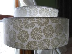 White Flower two tier Lamp Shade-Vintage inspired Modern Hand Printed Lampshade, original home decor lighting, clip on shade for table lamp