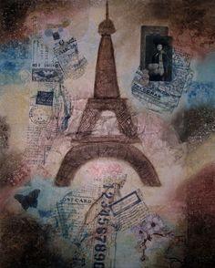 Travel, Paris. Mixed Media Art