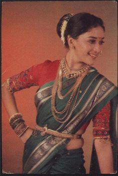 typical nauvari saree worn by madhuri dixit Maharashtrian Saree, Marathi Saree, Maharashtrian Jewellery, Marathi Bride, Marathi Wedding, Bollywood Stars, Bollywood Fashion, Bollywood Actress, Saree Fashion