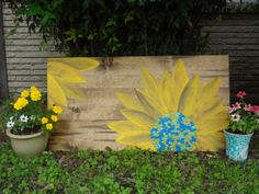 Colorful Sunflower Wall Decor on Stained by BohemianCrackerjack, $60.00