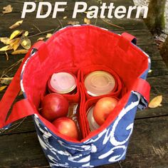 PDF Pattern Jars to Go 4-jar Bag  pint canning jar carrier by atinyforest, $5.00