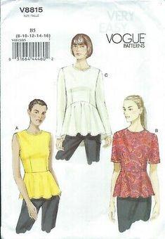 Vogue 8815 Pattern PEPLUM TOP ~ RAISED WAIST/HEMLINE VARIATIONS Misses 8-16 31664444602 | eBay