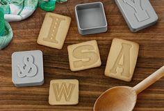 Letterpress alphabet cookie cutters - love!