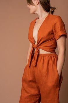 95ad71d3bc56 ALTAR PDX-Cardamom Linen Tie Top Fair Trade Fashion