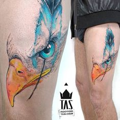 Rodrigo Tas watercolor eagle tattoo