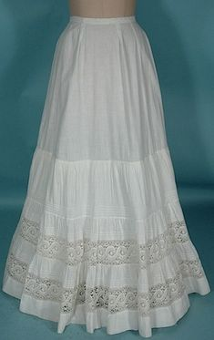 Antique Dress - 1902-1905 Slight Trained Petticoat of White Starched Fine Cotton and Lace!