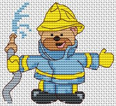 cross stitch pattern from http://www.jbcrossstitch.com/cross-stitch-characters/288-fireman-ted.html