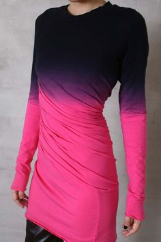 RTBU Cotton Punk Dip Tie Dye Gradient Long Top T by runnickyrun