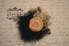 First Noel bow Hair accessories Black and Gold by JLexiJolie, $14.99