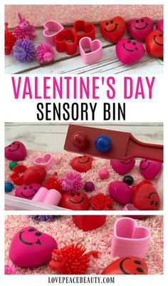 Create a holiday-themed sensory bin for home or the classroom! Introduce a new Valentine's Day Sensory Bin for a fun activity. Sensory bins allow children to explore, manipulate items and experience textures. #valentinesday #sensory #play #kidscrafts #artsandcrafts