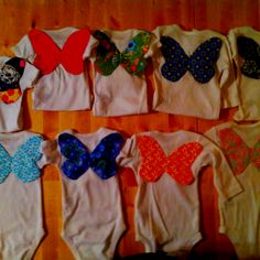 Butterfly wings on the back of baby onsies. So adorable for a little girl. Made these for my dear friend Anna