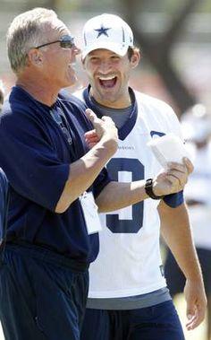 Dallas Cowboys quarterbacks coach Wade Wilson laughs with quarterback Tony Romo during their walk thru practice at training camp in Oxnard, CA, on Thursday, August 9, 2012.