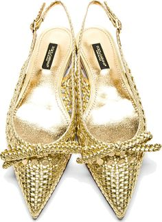 Dolce & Gabbana: Gold Braided Leather Slingback Flats