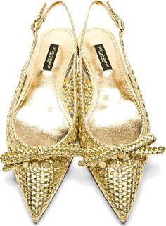 Dolce & Gabbana: Gold Braided Leather Slingback Flats