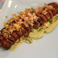 Grilled Pork Tenderloin al Pastor with Avocado Crema By Jeff Mauro