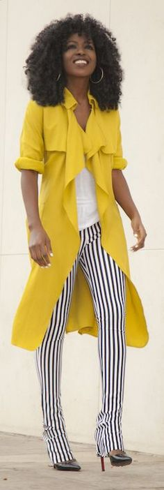 Yellow Flowy Trench by Style Pantry
