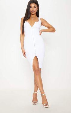 af1f3a253b White Zip Detail Midi Dress