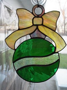 Stained Glass Christmas Ornament Suncatcher by LJLStainedGlass on Etsy