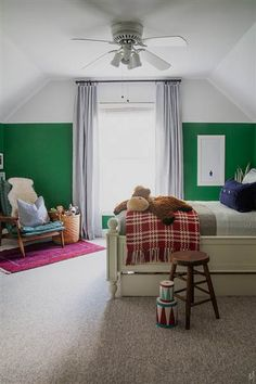This is the exact shape of Nathan's room.  Love the two color idea!!