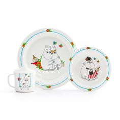Moomin Tableware set for children  Durable kids dinnerware in scratchproof melamine plastic with motifs of Mumin.