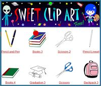 Free clip art: Sweet Clip Art provides lots of free clip art. Provides a search button to narrow your choices.