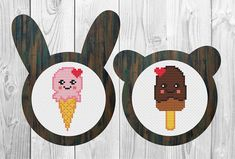 Kawaii valentine icecream cross stitch pattern PDF/ funny cute
