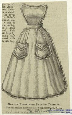 Kitchen Apron with pleated trimming.  1871