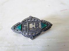Antique Art Deco Marcasite Brooch With Initials SCB c.1920/$76