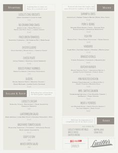 Lucille's menu, designed by Woreman Design. #typography #menu #design    So clean and professional! Love the combination of typestyles. Feels comfortable and charming but has a classy element.