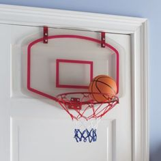"""The convenient, easy-to-hang construction of our Stop and Pop Basketball net means it can be basketball time anytime.  Not including bedtime, homework time, bath time or various other non-basketball times. Details, details Transparent plastic backboard Deflated 6""""dia ball included requires pump (pump not included) Foam backing on backboard surfaces prevent damage to doorShow 'em what you're made of Plastic backboard Metal rim and polyester netAge range 6 and up."""