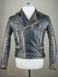 Vintage Motorcycle City Leather Biker Jacket With Patina image two