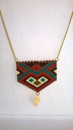 Long necklace or long necklace Bohemian style, modern. Seed Bead Necklace, Seed Bead Jewelry, Beaded Jewelry, Jewellery, Peyote Patterns, Beading Patterns, Brick Stitch Earrings, Crochet Motifs, Fall Jewelry