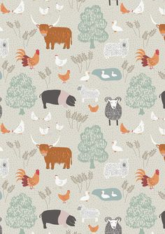 Half metre Lewis & Irene Patchwork Quilting Fabric Country Life - A92-2 Country life on Natural