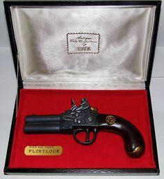 "Vintage Over and Under Flintlock Pistol Cigarette Lighter, ""Antique Gun Collection"" by Swank."