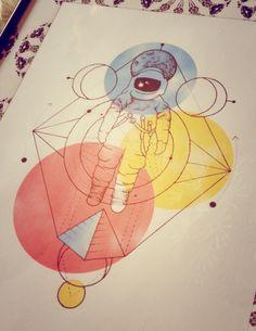 Space geometric tattoo design