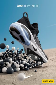 Nike Joyride delivers one of our softest running experiences ever, thanks to thousands of tiny, free flowing beads in the midsole. Shoes Ads, Hype Shoes, Moda Sneakers, Sneakers Nike, Sneakers Fashion, Fashion Shoes, Design Nike, Futuristic Shoes, Shoe Poster