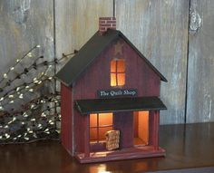 Primitive country style Lighted SALTBOX  House QUILT by craftsbest