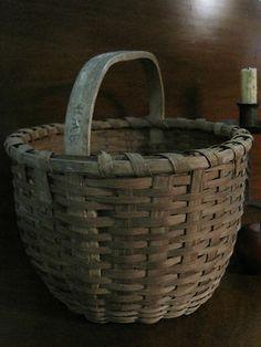 Antique 1800s N E Carved Handle Woven Black Ash Splint Gathering Basket AAFA | eBay