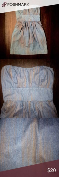 """A is for Audrey strapless denim & gold dress gorgeous dress no signs of wear. Brand is; a is for Audrey. Size xs length in back is 24"""" and in front 23"""" A is for Audrey Dresses Mini"""