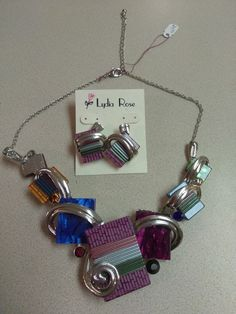 Chunky Abstract Multi-Colored Necklace and Earring Set Fashion Jewelry STATEMENT #EXQUISITEANDELEGANT