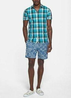 Summer style - T1 Short sleeve plaid shirt & swim trunks