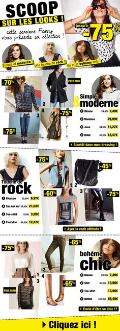 Scoop sur les looks ! 1 - boutique avec 3 sous-thématiques mode femme façon magazine / Octobre 2013 / Excedence.com  #emailretail #excedence  #EmailMarketing #DigitalMarketing #EmailDesign #EmailTemplate #SocialMedia #EmailNewsletters #EmailRetail #excedence #destockagemode