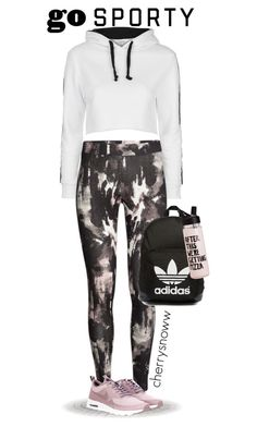 """""""Go sporty"""" by cherrysnoww ❤ liked on Polyvore featuring Topshop, NIKE and adidas Originals"""
